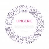 Lingerie Circle Poster With Flat Line Icons Of Bra Types, Panties. Woman Underwear Background, Vecto poster