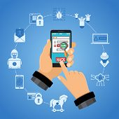 Cyber Crime Concept. Hacker Holding Smart Phone In Hand And Hacks Password. Flat Style Icons Hacker, poster