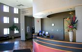 picture of reception-area  - Front desk in the modern hospital lobby