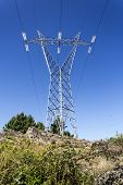 A Transmission Tower, Or Power Tower Or Electricity Pylon Is A Tall Structure, Usually A Steel Latti poster