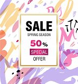 Template Design Sale Banner. Vertical Poster For Spring Season Sale With Abstract Flower Decoration. poster