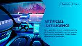 Artificial Intelligence Smart Safety Autonomous Car Cockpit. City Landscape View. Future Unmanned Au poster
