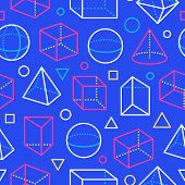 Geometric Shapes Seamless Pattern With Flat Line Icons. Modern Abstract Background Geometry, Math Ed poster