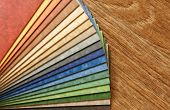 stock photo of linoleum  - The samples of collection a natural linoleum - JPG