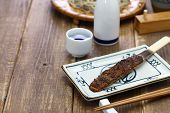 soba miso, burnt miso(soybean paste) with roasted buckwheat seeds, japanese food poster