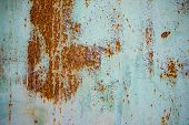 Old Corroded Metal Wall Background With Flaky Blue Green Paint .rusty Flaky Cracked Metal Surface.ab poster