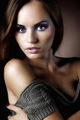 stock photo of beautiful women  - beautiful woman in a warm sweater - JPG