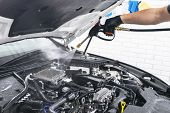 Car Detailing. Manual Car Wash Engine With Pressure Water. Washing Car Engine With Water Nozzle. Car poster