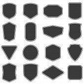 Set Of Vitage Label And Badges Shape Collections. Vector Illustration. Black Template For Patch, Ins poster