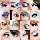 Collage of closeup eyes