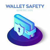 Wallet With Security Shield Icon. 3d Isometric Protect Wallet Icon. Private Secure. Protect Savings, poster