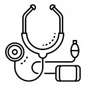 Cardiology Stethoscope Icon. Outline Cardiology Stethoscope Vector Icon For Web Design Isolated On W poster