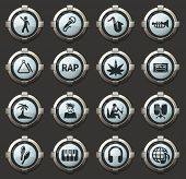 Rap Music Vector Icons In The Stylish Round Buttons For Mobile Applications And Web poster