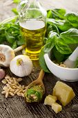 image of italian food  - pesto sauce over spoon with ingredients - JPG