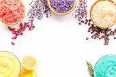 Aromas Of Bath Salt. Lemon, Coffee, Rosemary, Rose, Lavender Near Bowls With Colorful Bath Salt On W poster