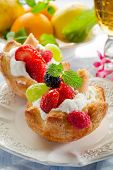 stock photo of tea party  - cake  fruit - JPG