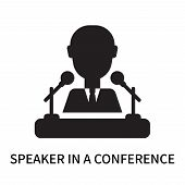 Speaker In A Conference Icon Isolated On White Background. Speaker In A Conference Icon Simple Sign. poster