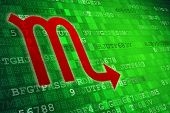 Red Scorpio Zodiac Sign On Green Digital Background. Copy Space. poster