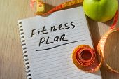 The Notepad With Fitness Plan List Text. Diet Plan Healthy Eating, Dieting, Slimming And Weigh Loss  poster