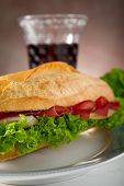 image of italian food  - italian sandwich with bresaola cheese and lettuce - JPG