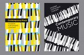 Bright Poster Set For Music Concert, Classic Piano Keyboard In Geometric Mosaic Style. Elegant Urban poster