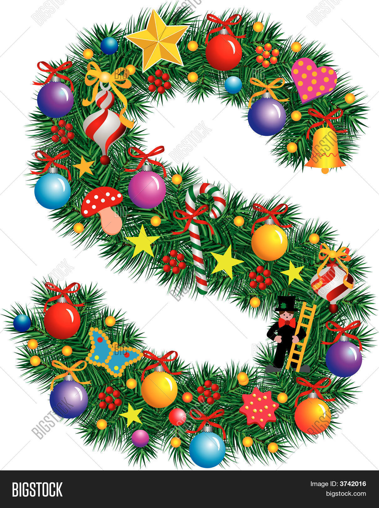 Alphabet letter s christmas vector photo bigstock for S letter decoration