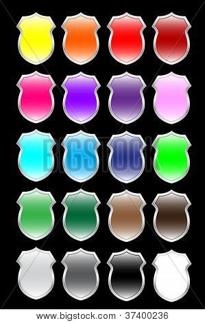 Big set of colorful shields Vector