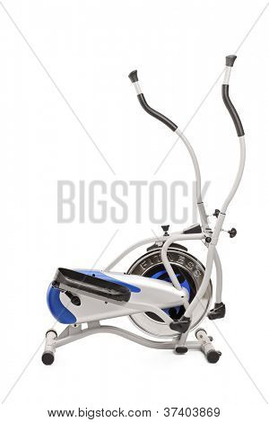 A studio shot of a cross trainer isolated against white background