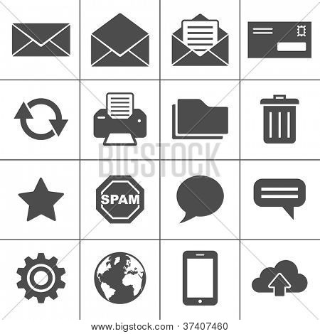 Email Icons. Each icon is a single object (compound path)