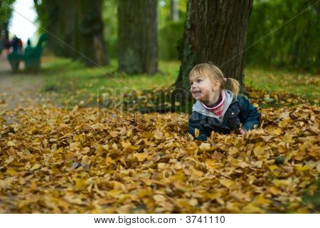 Little Girl Lies At Yellow Leaves