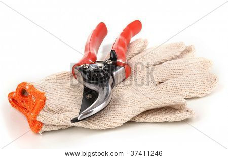 Pruner on garden gloves isolated on white