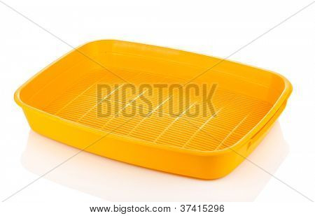 Yellow plastic litter cat isolated on white