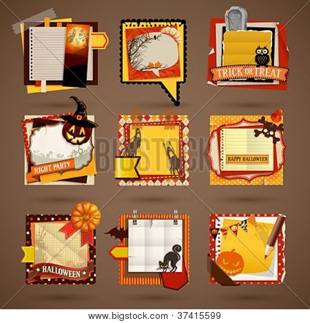 Halloween Paper notes. Scrapbooking elements.