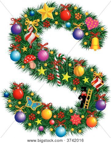 Alphabet Letter S - Christmas Decoration