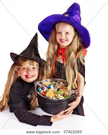 Witch little girl  with trick or treat. Halloween.
