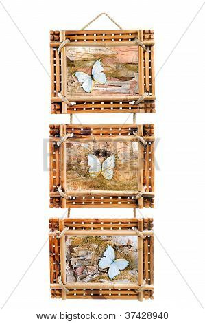 Three Bamboo Photo Frames With Abstract Composition Of Butterflies, Birch Bark And Straw Isolated On