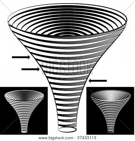 An image of a halftone funnel chart.
