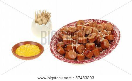 Sliced Hot Dogs In Platter