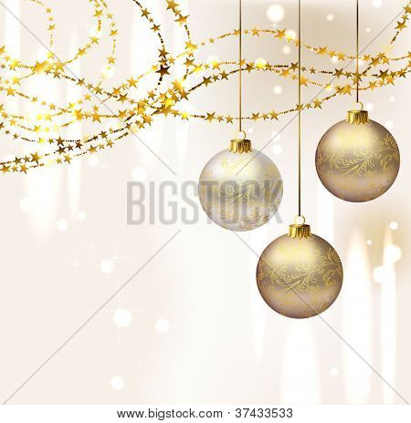 raster version of elegant Christmas background with three evening balls and gold garlands