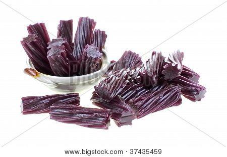 Black Cherry Licorice Sticks Dish Foreground