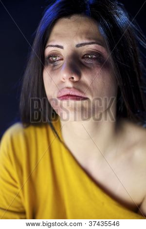 Beaten Woman Crying Desperate