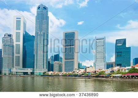 Singapore Skyscrapers And Restaurants On Boat Quay