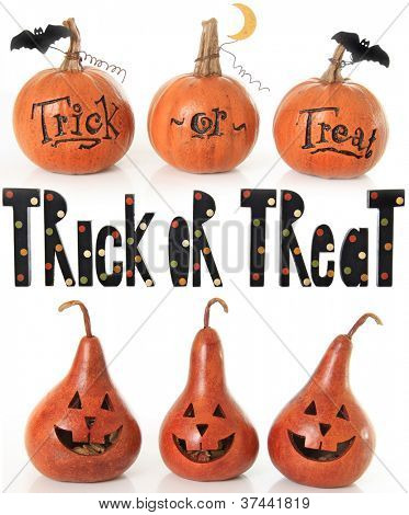 Collection of trick or treat pumpkins.