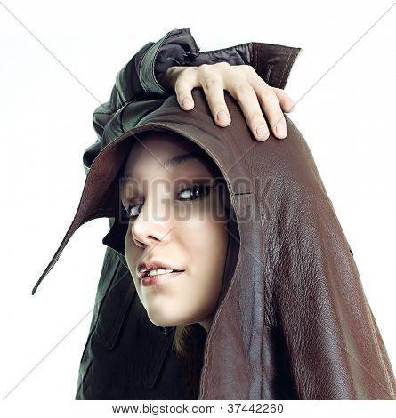 isolated beautiful freak girl  portrait photo