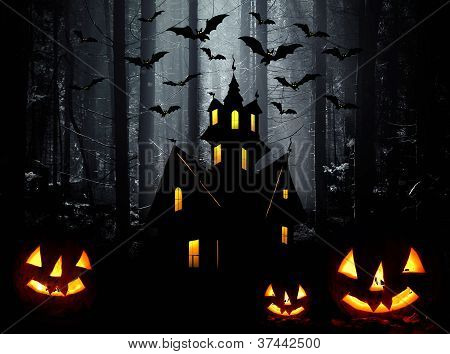 Halloween. Night. Moon, Castle And Bats.