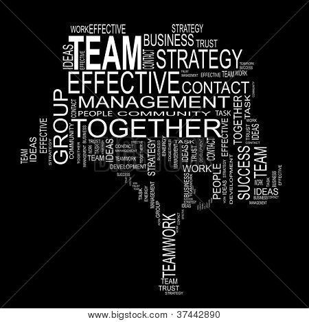 Vector concept or conceptual white text wordcloud or tagcloud isolated on black background ,metaphor for business,team,teamwork,management,effective,success,communication, cooperation,group or symbol