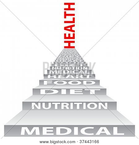 High resolution concept or conceptual 3D stair or steps isolated on white background as a metaphor for health, nutrition,diet,wellness,body or energy. Also good for medical,sport,heart or science