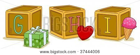 Illustration of Wood Blocks with the Letters GHI Printed on Them