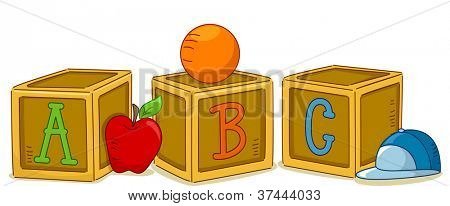 Illustration of Wood Blocks with the Letters ABC Printed on Them