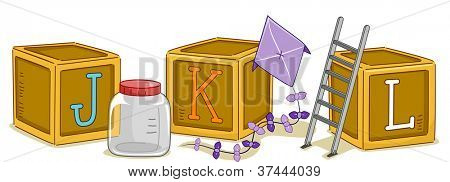 Illustration of Wood Blocks with the Letters JKL Printed on Them